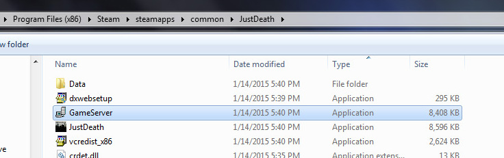 Just Death Game Server in Windows Explorer