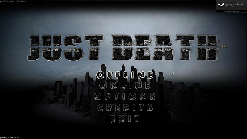 Just Death Main Menu