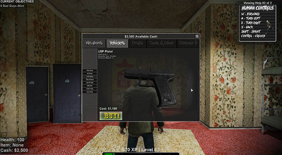 Just Death - Buy Weapon Screen