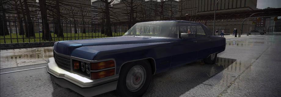 Royale V8 on wet city streets.