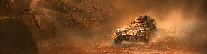 Dune Buggy cutting across the Terrain - Concept Art