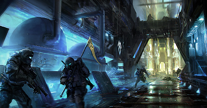 Legion Soldiers about to capture the Rebel flag in the Reactor Arena - Concept Art